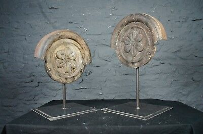 Pair of Antique Cast Iron Bosses with Flower Pattern Mounted - Interior Design