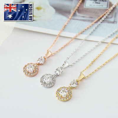 Women's 18K Rose Gold / Gold Filled Crystal Drop Charm Pendant Necklace Stunning