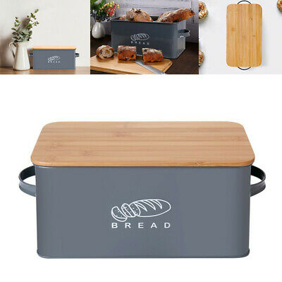 US Bread Box Storage Bin Bamboo Lid Kitchen Cake Food Storage Container Grey