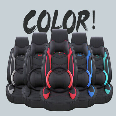 Universal 5-Seats Car Seat Cover Front+Rear Leather Cushion W/Pillow Set 4 Color