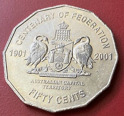 2001 Australian 50 Cent Coin Centenary Of Federation - Aus Capital Territory Act