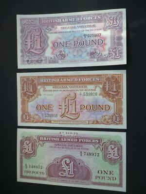 British Military Armed Forces Special Vouchers Set 0F 3 £1 Notes Uncirculated.