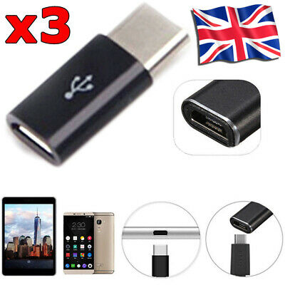 3x Samsung S8 S9 S10+ Note 9 8 Micro USB Female To Type-C Male Connector Adapter