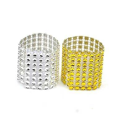50/100X Rhinestone Napkin Rings Buckle Holders Wedding Banquet Party Table Decor