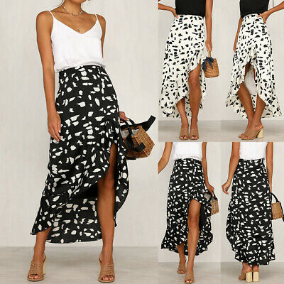 f490c2b4367184 UK Womens High Waist Spotted Ruffle Dress Ladies Summer Holiday Party Midi  Skirt