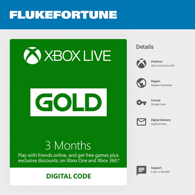 XBOX LIVE 48 Hour GOLD Trial Membership Digital Code Card