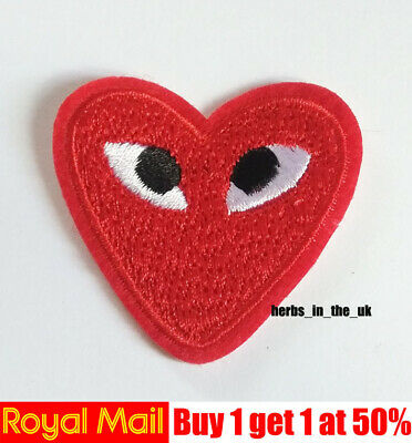Comme Des Garcons CDG Play Red Heart Embroidery Applique Patch Sew Iron Badge