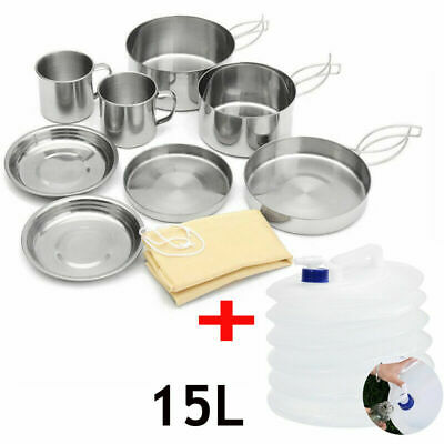 8PC Camping Hiking Cookware Picnic Bowl Pot Pan and 15L Foldable Water Container