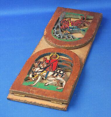 Antique bookends, medieval, gothic, hand carved and painted Canterbury Tales
