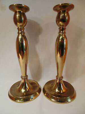 PAIR of ANTIQUE BRONZE SIGNED BRADLEY & HUBBARD B & H ARTS & CRAFTS CANDLESTICKS