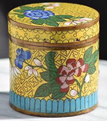 Antique Chinese Cloisonne Enamel Yellow Famille Rose Cylinder Tea Caddy Qing