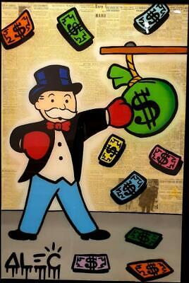 "Alec Monopoly Graffiti Handcraft Oil Painting on Canvas,""Monopoly Boxing"" 36"""
