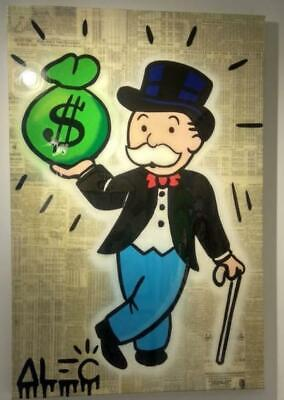 "Alec Monopoly Graffiti Handcraft Oil Painting on Canvas,""Monopoly With Cane"" 36"""