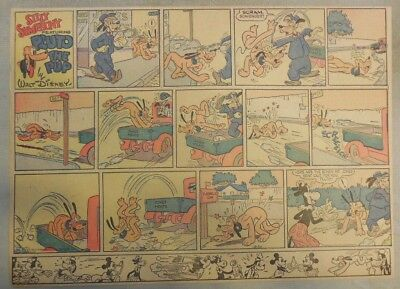 Pluto The Pup Sunday Page by Walt Disney from 8/25/1940 Half Page Size