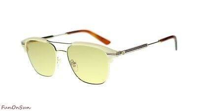 760a3aad0972f NEW Gucci Men Sunglasses GG0241S 004 Gold Light Brown Lens Square 54mm  Authentic