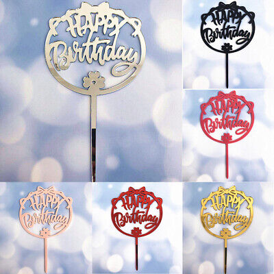 1pc Bow Acrylic Baking Cake Insert Decor Glittered Happy Birthday Cake Topper LJ