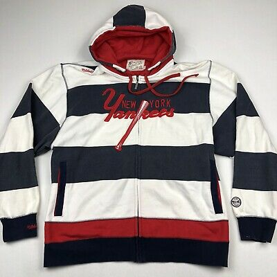 outlet store a8c96 9af28 NEW YORK YANKEES 1904 Mitchell & Ness Throwback Hoodie Striped Sweatshirt •  XL