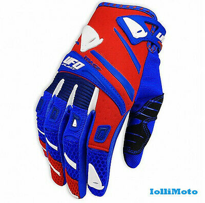 Guanti Moto Cross Enduro Mx Glovers Ufo Trace Rosso-Blu Adulto M