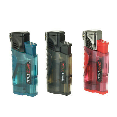 Triple Jet Torch Lighter Butane Refillable Windproof Flame w/ Cigar Puncher