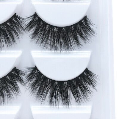 5 Pairs 3D Mink Hair False Eyelashes Wispy Cross Long Lashes Makeup Soft Hair US