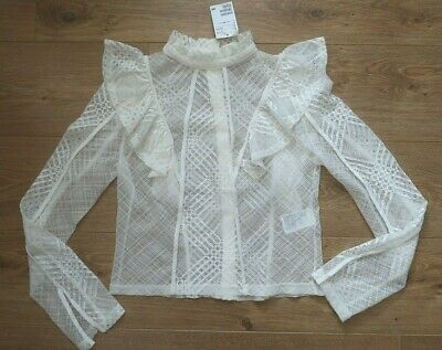 7d084f81f0ad35 BNWT H&M Blouse 12 Lace Frill Stand Up Collar White Sleeve Work Formal Smart