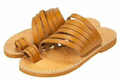 ANCIENT GREEK STYLE SANDALS Womens Leather Handmade Spartan Roman Shoes Flat
