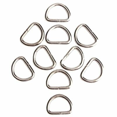 1X(10Pcs D-Rings Buckles Clips Non Welded Sport Webbing Leather Craft ,Silv Q6V7