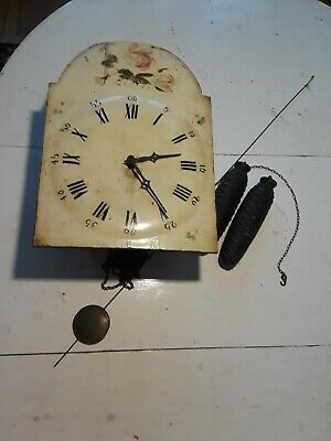 Antique German Large Wag on Wall Clock Floral For Parts or Repair