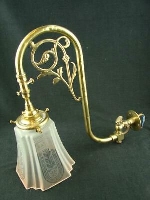 19th C SWAN NECK GAS LAMP / WALL LIGHT CONVERTED TO ELECTRIC, ETCHED GLASS SHADE