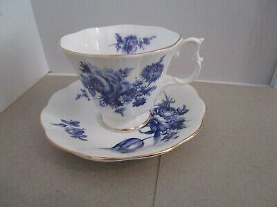 ROYAL ALBERT Cup & Saucer - White w/Blue Flowers, Gold Trim