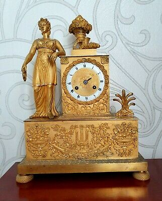 Antique French Empire Napoleon Gilt Bronze Mantel Clock Ormolu 1820 19thc