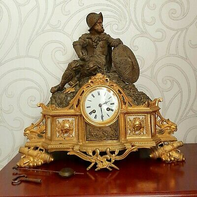 Large Antique French Gilt Bronze Mantel Clock Ormolu 19th century