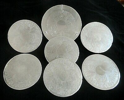 Silver Plated 7 piece Placemat Set 7.3/4 Round With Rack