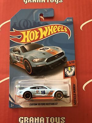 Custom '18 Ford Mustang GT #180 Gulf Muscle Mania 2019 Hot Wheels Case J
