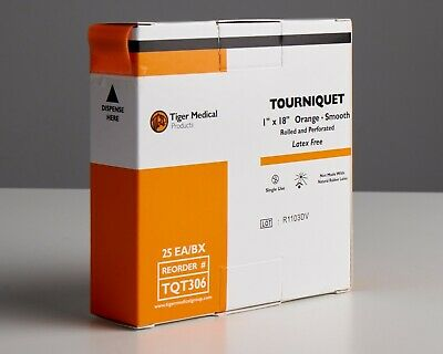 """Tourniquet, 1"""" x 18"""", Orange, Smooth, Rolled & Perforated- ASP Medical"""