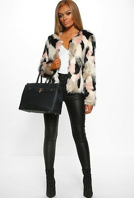 Pink boutique multi print faux fur coat - size 10