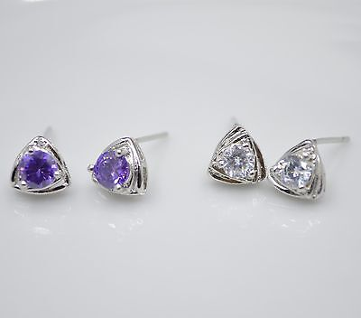 Shiny 925 Sterling Silver Plt Triangle w/ Clear/Purple CZ Stud Earrings Gift UK