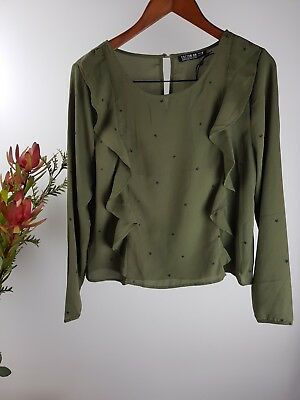COTTON ON Ladies Size M - Khaki Long Sleeve Ruffle Blouse Top - BRAND NEW BNWT