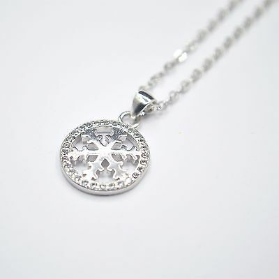 Shiny 925 Sterling Silver Plt Cute Small Snowflake CZ Circle Pendant Necklace UK