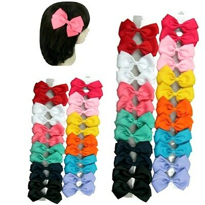 """24 piece Lot Baby Girls Large Hair Bows 5"""" Grosgrain Ribbon Snap Clips Alligator"""