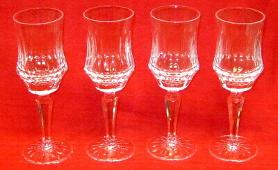 LOT OF 4 OLD GALWAY CLARET WINE GLASS CUT CRYSTAL Stemware Star Foot GOBLETS EXC