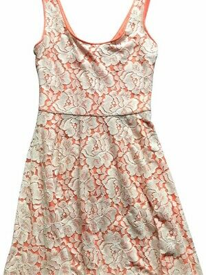 Bar III Coral Pink Dress with Lace Overlay, Women's Small
