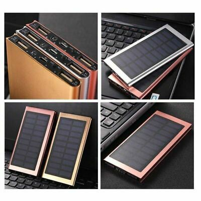20000mAh Slim Dual USB Portable Battery Charger Solar Power Bank For Cell Phone