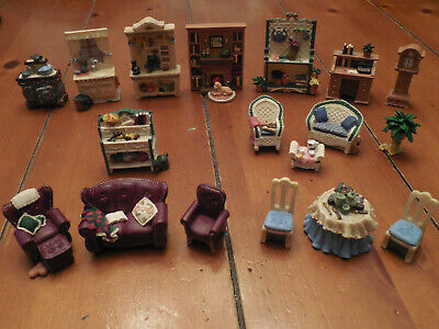 Doll House Funiture Fireplace Bookcase Table Chairs Sofa Couch Stove Clock Desk
