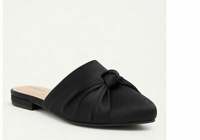 672aa594ef1 Torrid 11 W Wide Loafers Black Satin Bow Slip On Mules Shoes Slippers NEW W  TAGS