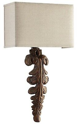 Vintage Style Foliage Iron/Wood Wall Sconce Wall Light Fixture,27.5''H