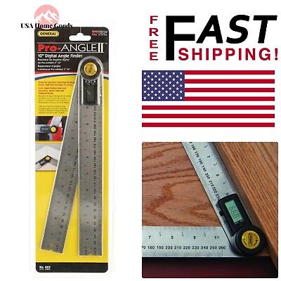 """Digital Angle Ruler 10"""" Stainless Steel Ruler Arms W/ Knurled Locking Nut Tool"""