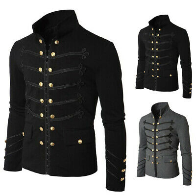 af47a4c234 UOMO AUTUNNO STEAMPUNK Gothic Rock Giacca Cardigan Outwear Cappotto ...