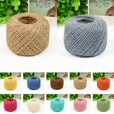 50m 3 Ply Coloured Natural Jute Twine Gift Garden Burlap Craft String Cord