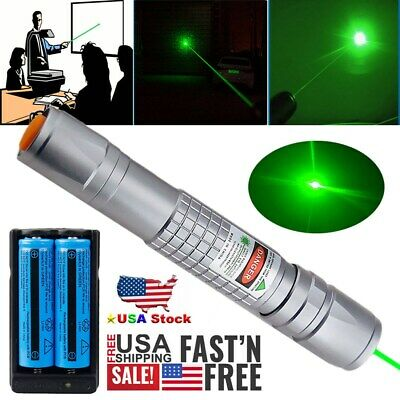 Military 60 Miles Green Laser Pointer Lazer Pen Beam 18650 battery Dual Charger